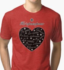 Ho´oponopono Corazón Negro Español Camiseta de tejido mixto