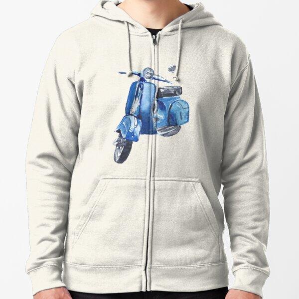 Blue Vespa Zipped Hoodie