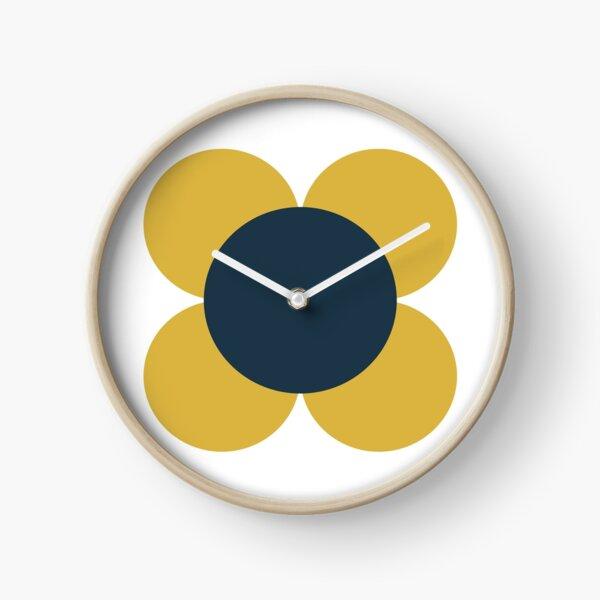 Fleur rétro en jaune moutarde clair, bleu marine et blanc Horloge