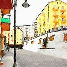 Glimpse with buildings and street lamp by Giuseppe Cocco
