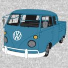 Blue Split Screen VW Kombi Pick up by MangaKid