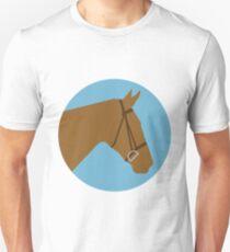 Minimalist Horse → Brown/Blue  Slim Fit T-Shirt
