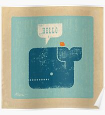 Square Whale Says Hello to Bird Poster