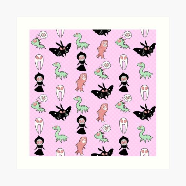 Pastel Cryptids (Pink) Art Print