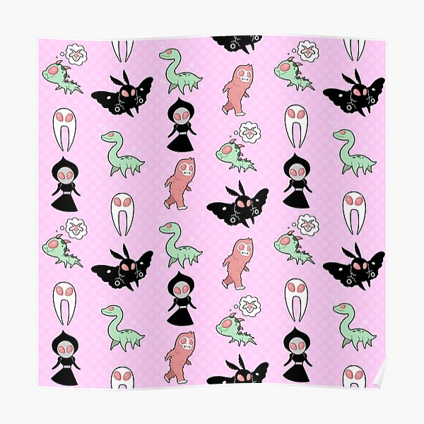 Pastel Cryptids (Pink) Poster