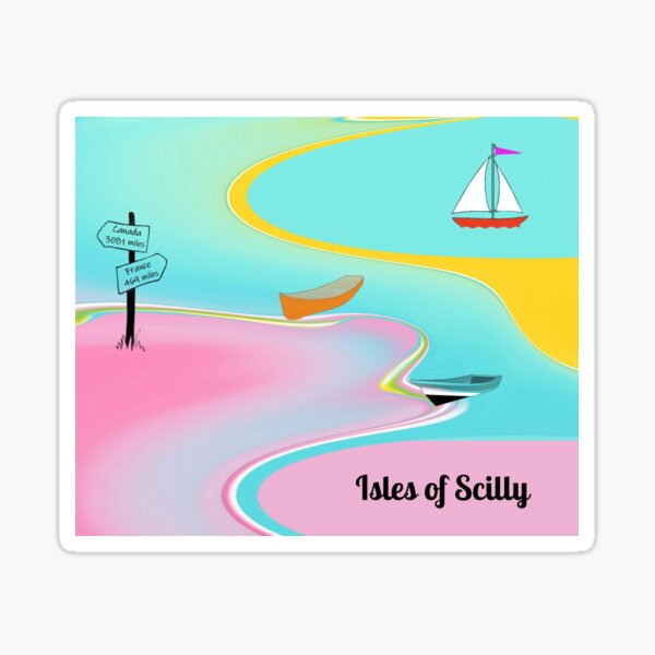 Isles of Scilly pastel fabric Sticker