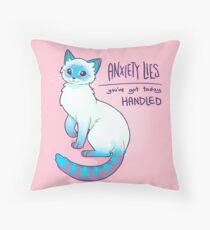 ANXIETY LIES Magical Lynx Point Siamese Cat Throw Pillow