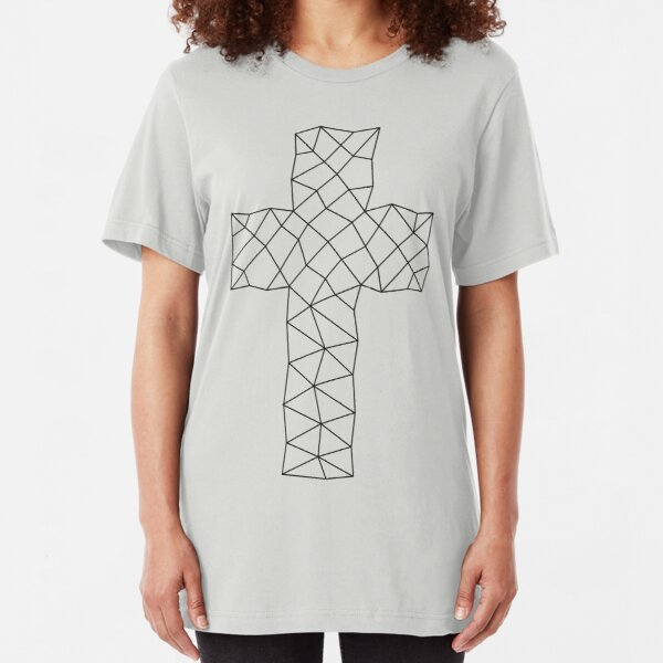 Geometric Cross Design Slim Fit T-Shirt
