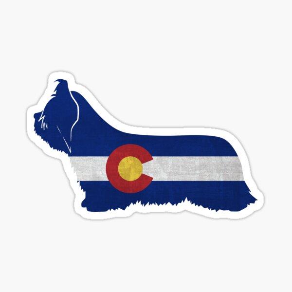 Skye Terrier Dog Breed Colorado Flag Silhouette Sticker
