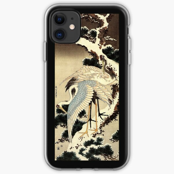 'Two Cranes on a Pine Covered with Snow' by Katsushika Hokusai (Reproduction) iPhone Soft Case