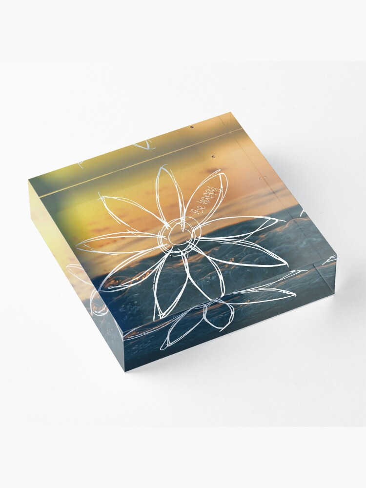 Alternate view of Be Happy, Drawn Flower with Sunset Acrylic Block