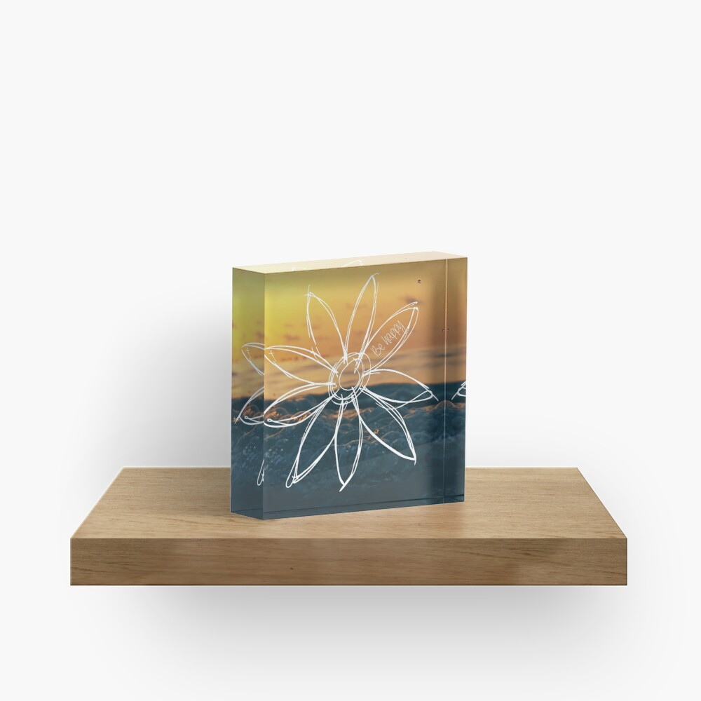 Be Happy, Drawn Flower with Sunset Acrylic Block