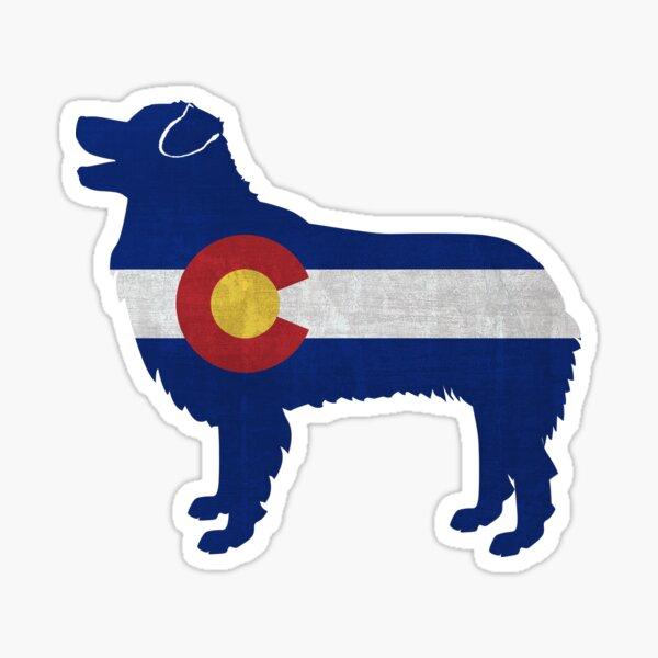 Australian Shepherd Dog Breed Colorado Flag Silhouette Sticker