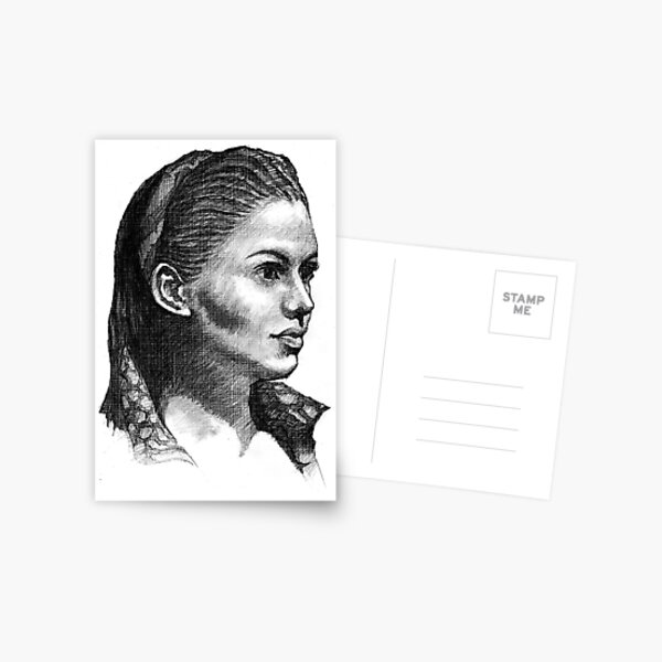 Woman Drawing Postcard