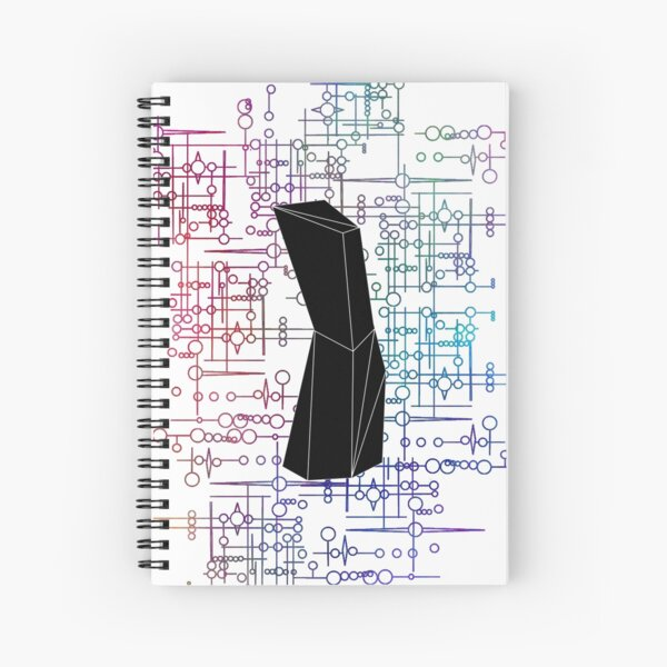 The Obelisk / The Diviner (Black and Multi-Coloured on White) Spiral Notebook