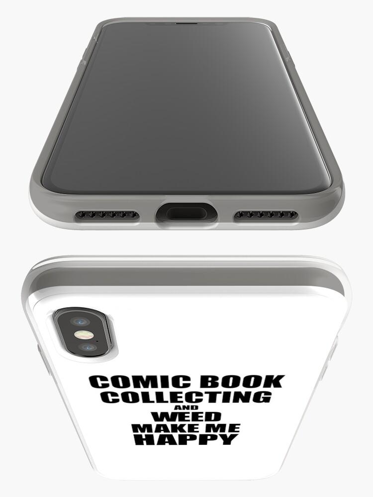 Vista alternativa de Vinilos y fundas para iPhone Comic Book Collecting And Weed Make Me Happy Funny Gift Idea For Hobby Lover