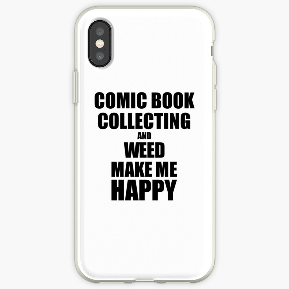 Comic Book Collecting And Weed Make Me Happy Funny Gift Idea For Hobby Lover Vinilos y fundas para iPhone
