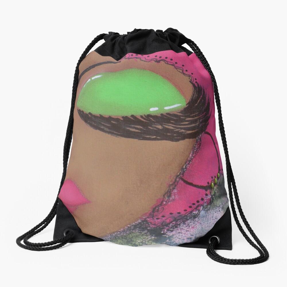 Sassy Girl Pink and Green  Drawstring Bag Front