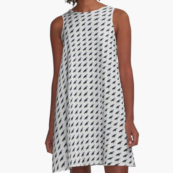 Grey Crow Pattern A-Line Dress