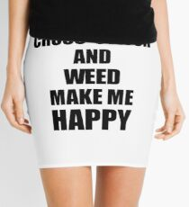 Cross-Stitch And Weed Make Me Happy Funny Gift Idea For Hobby Lover Mini Skirt