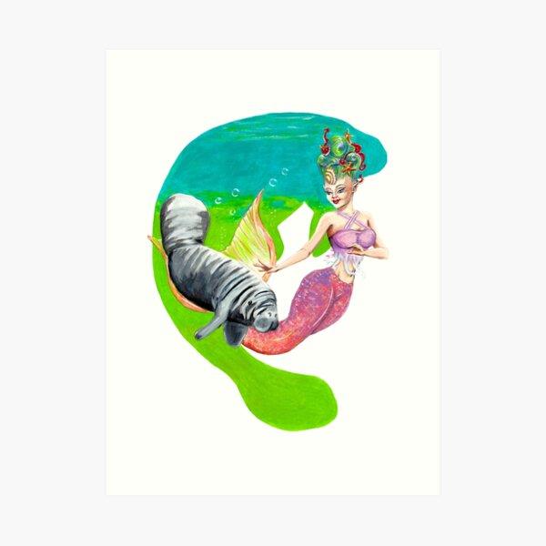 Mermaid and Manatee Art Print