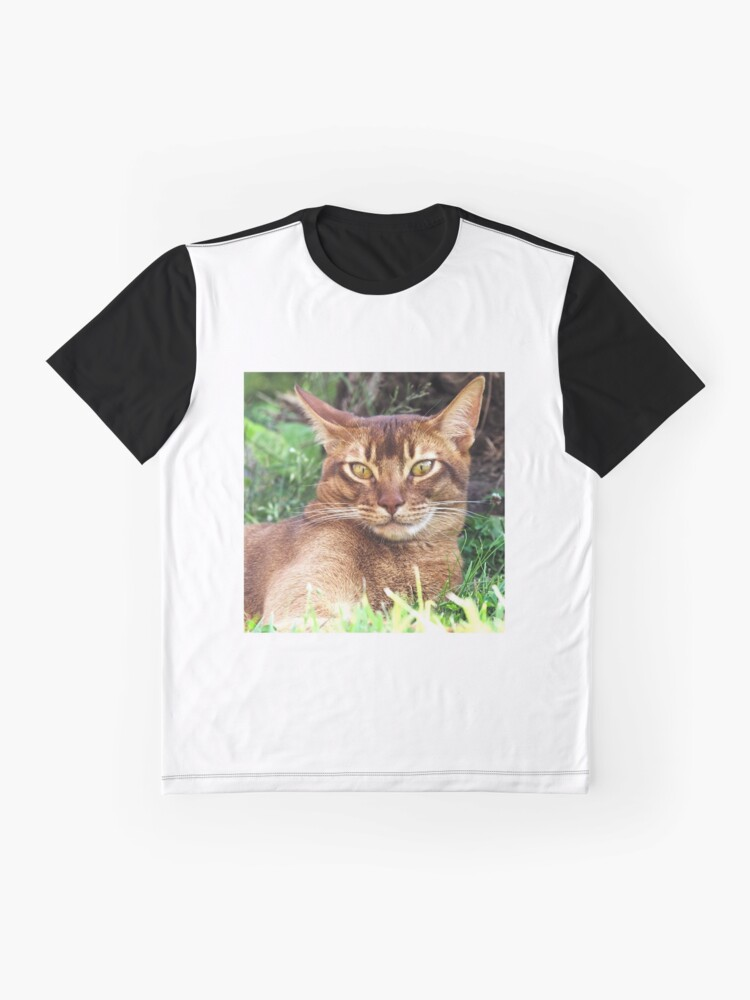 Alternate view of Abyssian Cat in Grass Graphic T-Shirt