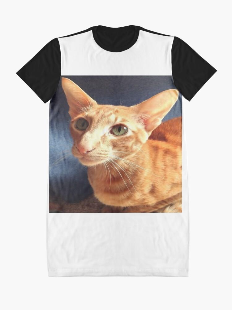 Alternate view of Oriental Cat Graphic T-Shirt Dress