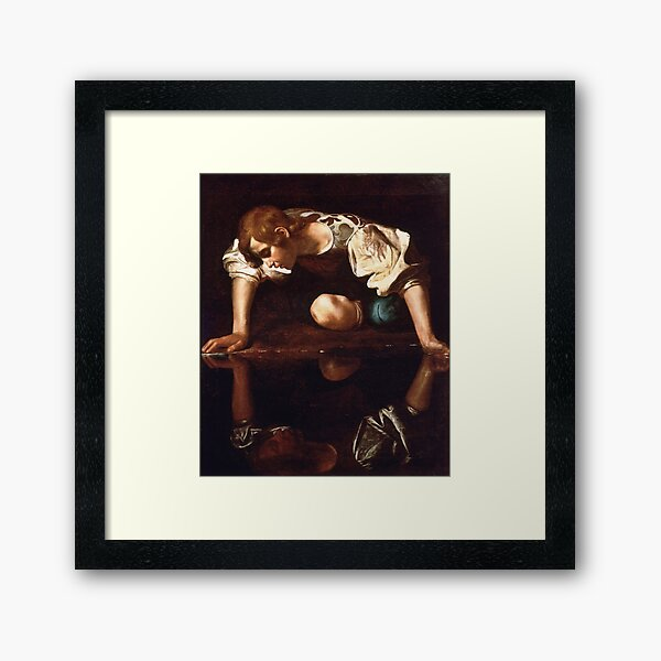 Narcissus by Caravaggio (1599) Framed Art Print