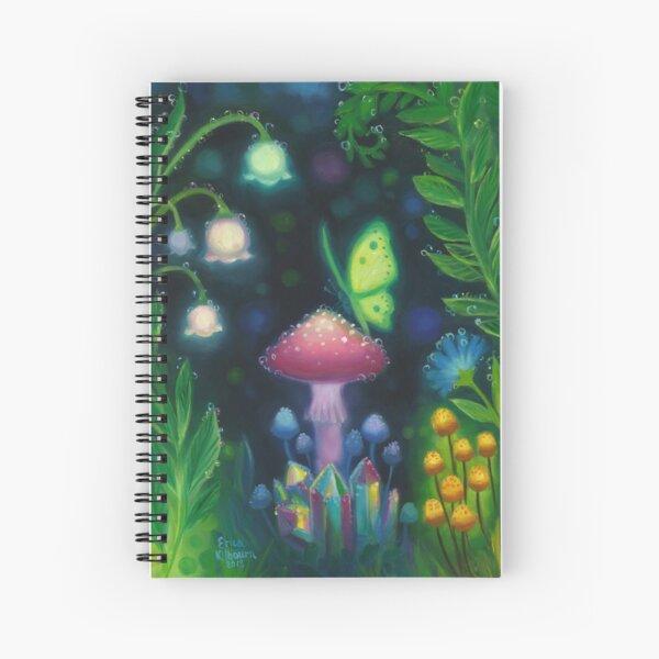 Night Lights Glowing Mushroom Butterfly Scene Spiral Notebook