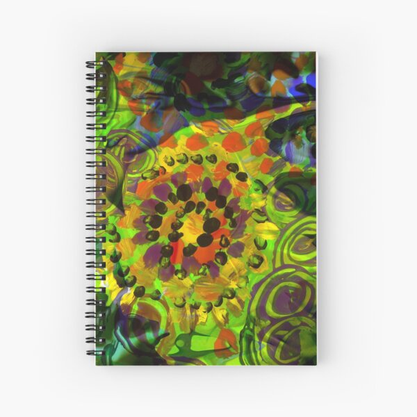 green abstract shapes movement Spiral Notebook