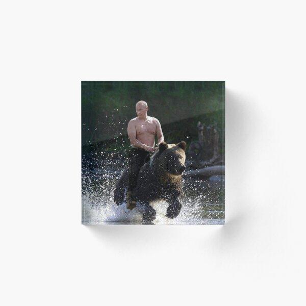 Vladimir Putin Riding a Bear Acrylic Block