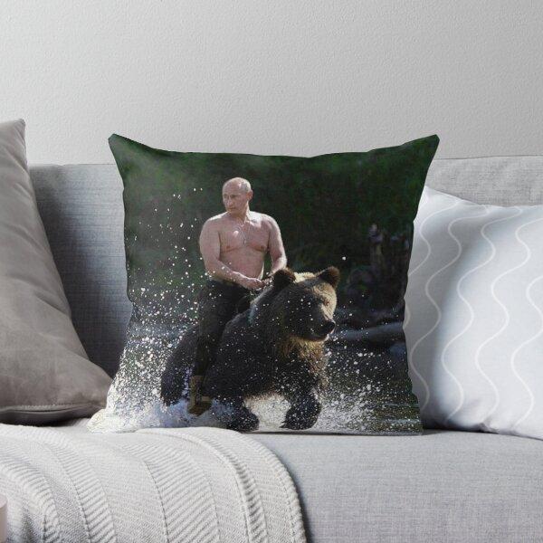 Vladimir Poutine chevauchant un ours Coussin