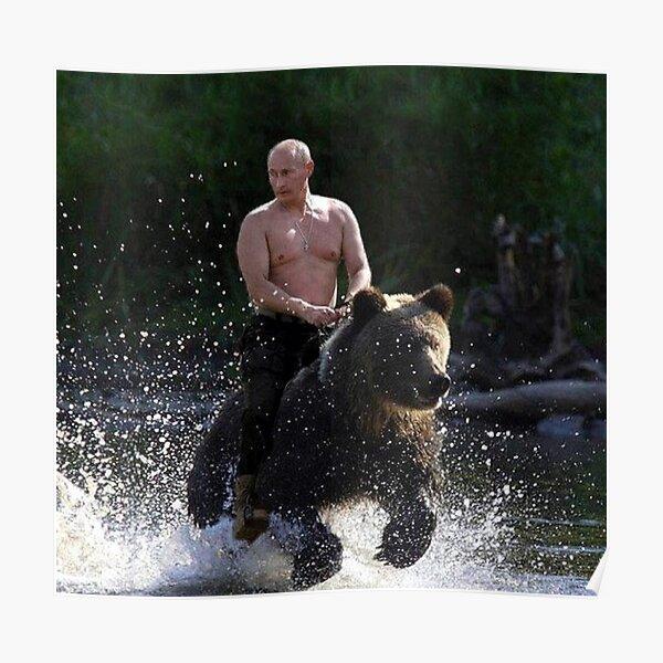 Vladimir Putin Riding a Bear Poster