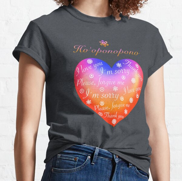Ho´oponopono Corazón Arcoíris Ingles Camiseta clásica
