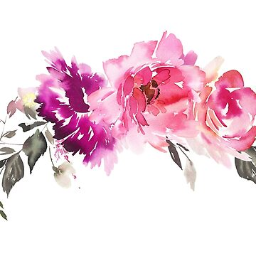 Purple Fuchsia Pink Watercolor Florals by junkydotcom