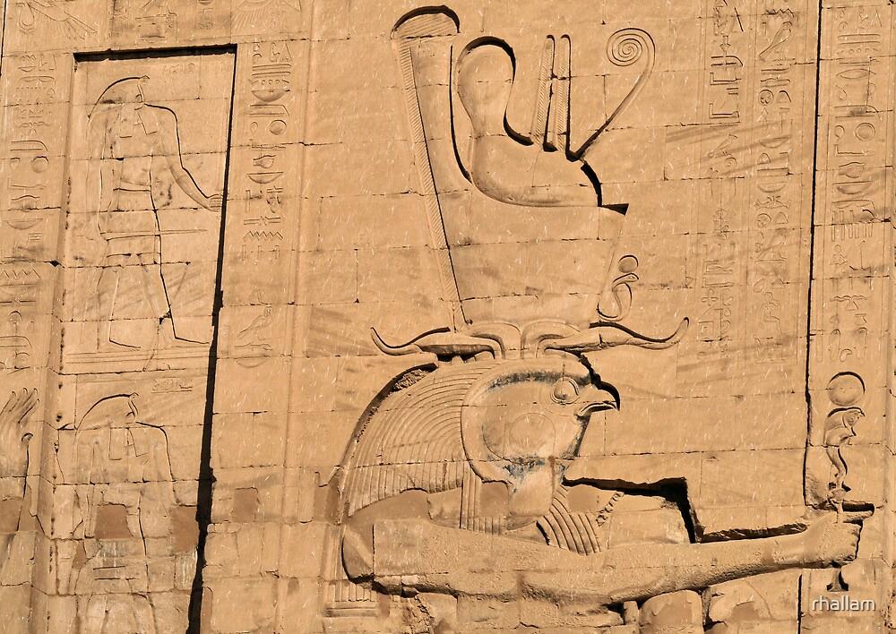 Hieroglyphs at Edfu temple in Egypt by rhallam