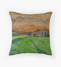 Landscape in watercolor Throw Pillow