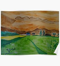 Landscape in watercolor Poster