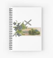 Weinlese-Ostern-Gruß mit silbernem Kreuzveilchen und See-Szene Spiralblock