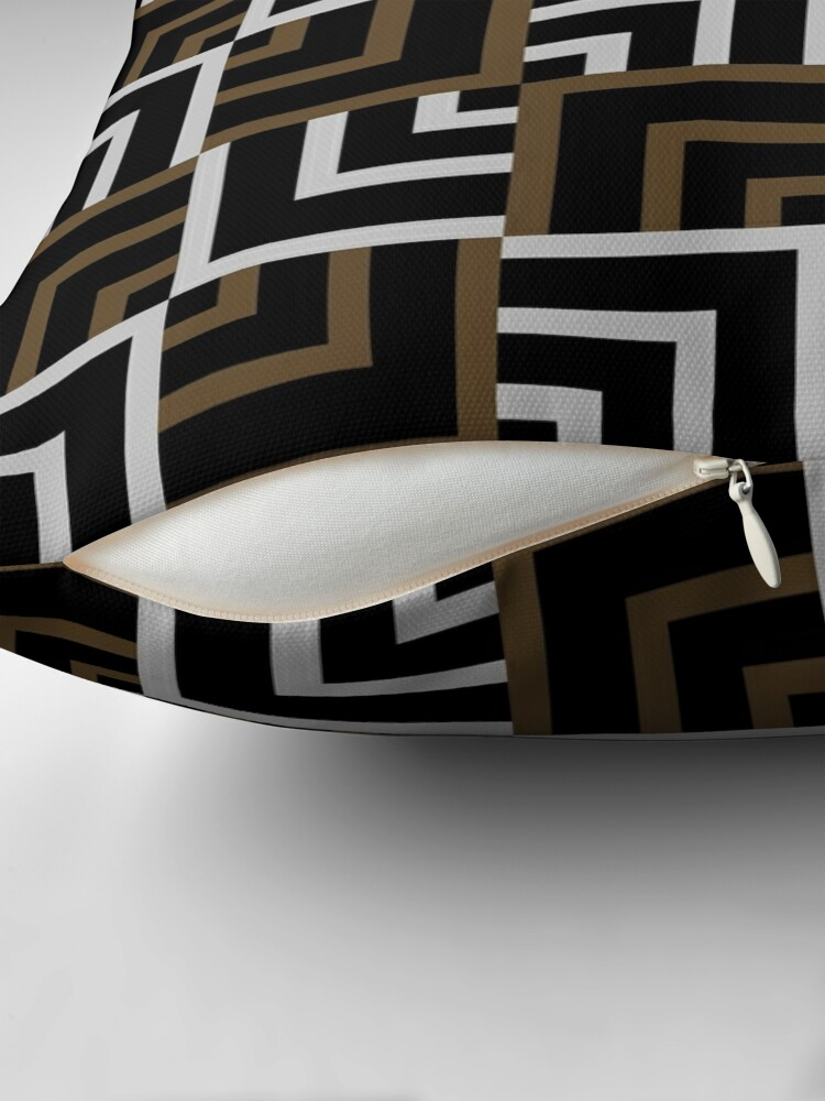 Alternate view of Brown and Silver Squares Throw Pillow