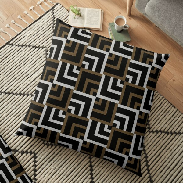 Brown and Silver Squares Floor Pillow