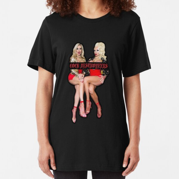 Cock Destroyers - Rebecca More and Sophie Anderson Design #1 Slim Fit T-Shirt
