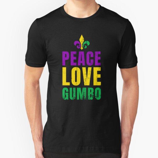 Mardi Gras 2019 - Peace, Love & Gumbo! Slim Fit T-Shirt