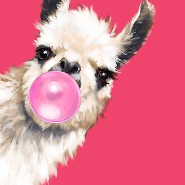 Bubble Gum Sneaky Llama en rojo de bignosework