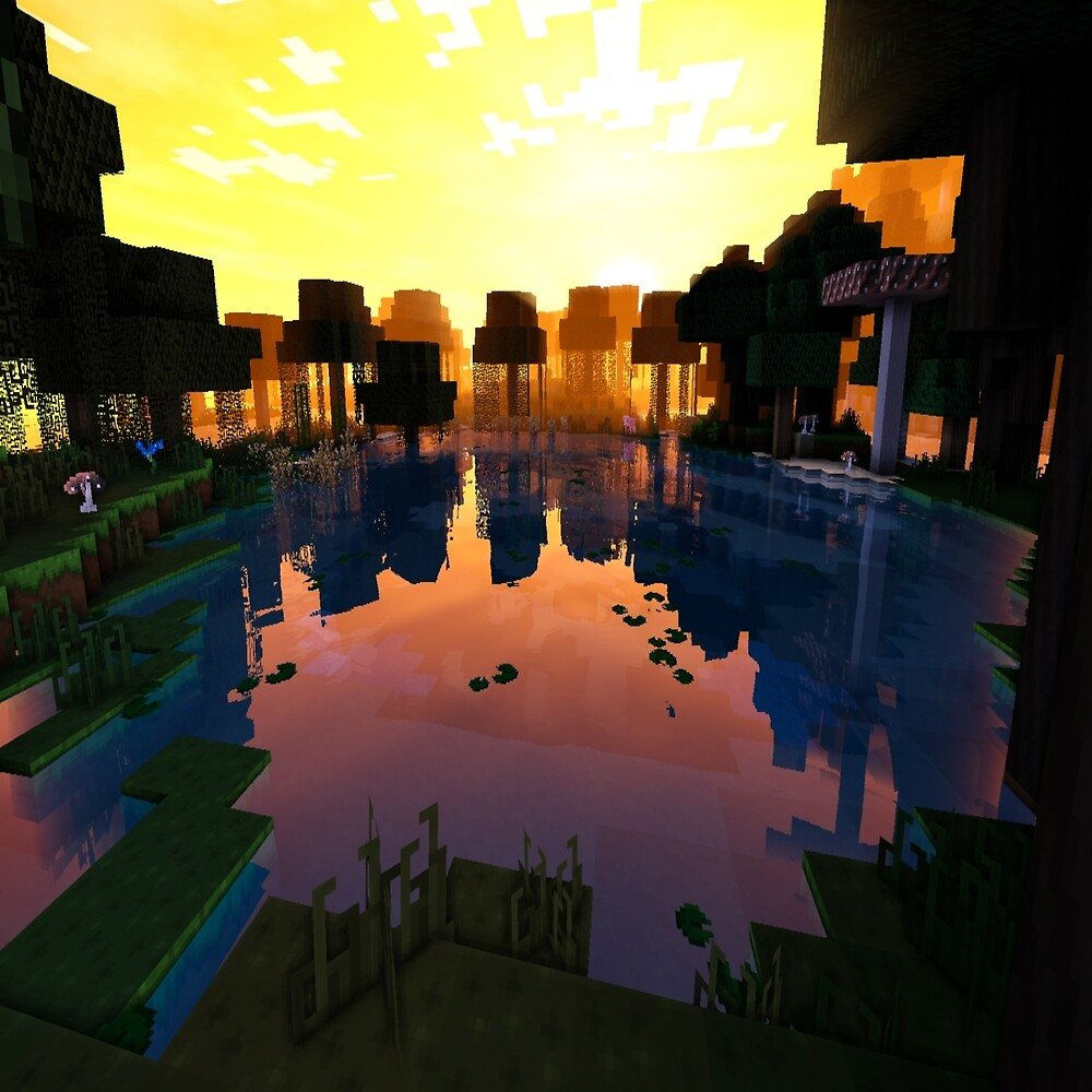 Beautiful Pond on Minecraft accompanied by Shaders by mtcali