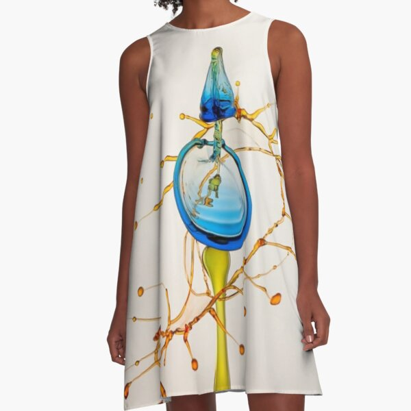 #water #liquid #drop #art illustration abstract wine space astronomy yellow color image A-Line Dress
