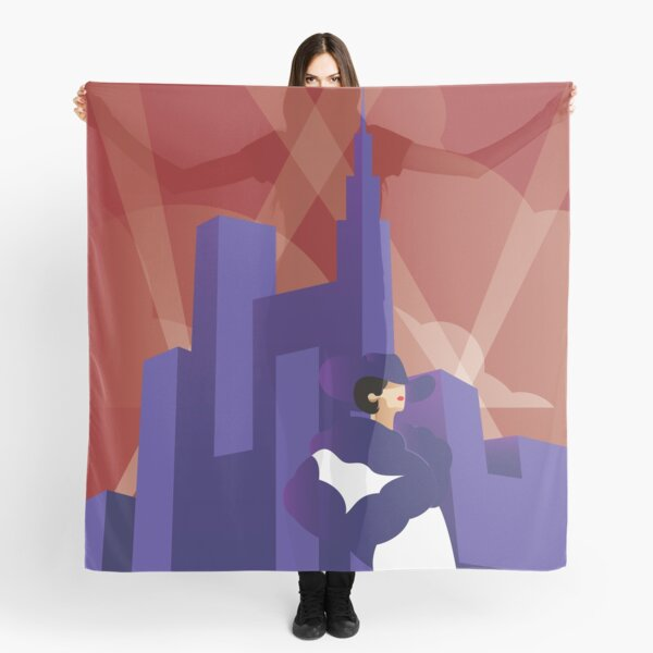 Artdeco Woman and Skyscrapers With Searchlights Scarf
