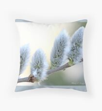 Pussywillow blooms Salix  B Throw Pillow