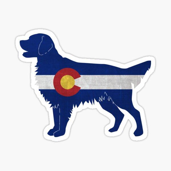 Golden Retriever and Flat-Coated Retriever Colorado Flag Silhouette Sticker
