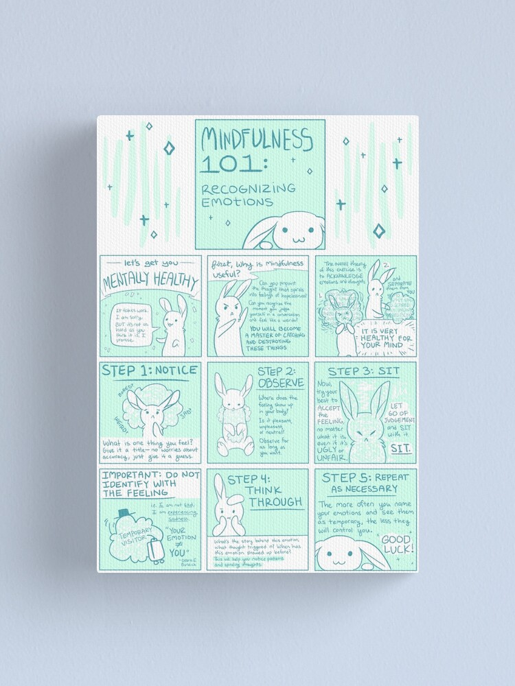 Alternate view of Let's Get You Mentally Healthy: Mindfulness 101 Bunny Comic Canvas Print